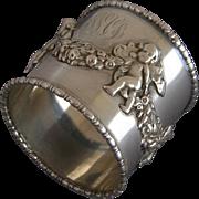 Victorian Cherub Sterling Silver Napkin Ring