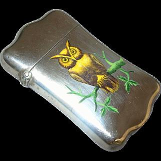 Antique Enamel Sterling Silver Owl Match Safe - circa 1900