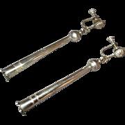 """Vintage Sterling Silver Navajo 3"""" Squash Blossom Earrings"""