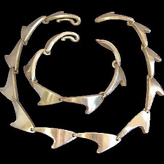 BENT KNUDSEN Modernist Sterling Silver Necklace & Bracelet (Bent K) Denmark