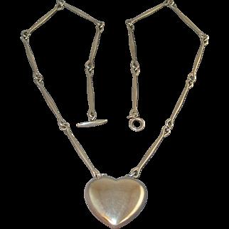 GEORG JENSEN Sterling Silver Puffy Heart Necklace 126B Denmark