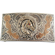 Gold & Sterling Horse Head Cowboy Western Buckle