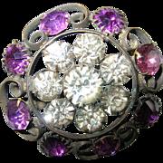 Victorian Rhinestone Hatpin - Purple & White