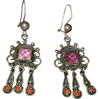 Vintage Mexican Sterling Silver Amethyst & Coral Dangle Earrings