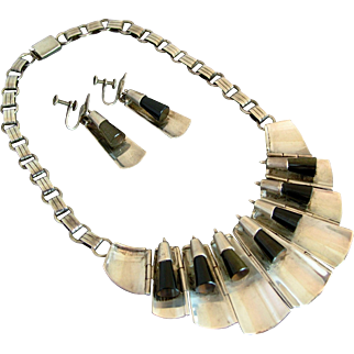 Modernist FAR FAN Sterling Silver & Obsidian Bib Necklace / Earrings