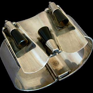 Modernist FAR FAN Sterling Silver & Obsidian Bracelet