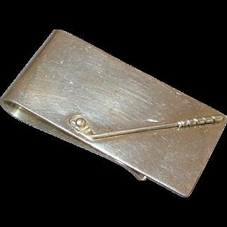 Vintage Golf Club Sterling Silver Money Clip