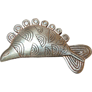 Retired James Avery Sterling Silver Geometric Fish Pin
