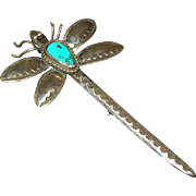 "HUGE! 4"" Sterling Silver Turquoise Dragonfly Pin - Joe Eby Native American Style"