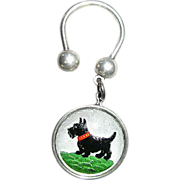 Reverse Painted Crystal SCOTTY Dog Key Ring Fob