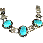 Egyptian Revival Silver Faience Scarab Bracelet