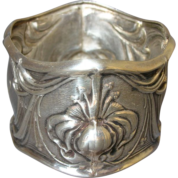 whiting sterling silver iris napkin ring from rubylane