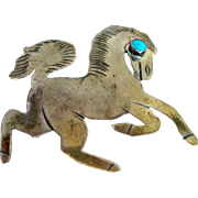 Native American Sterling Silver Horse Pin