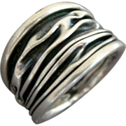 Crinkled Modernist Design Sterling Silver Ring