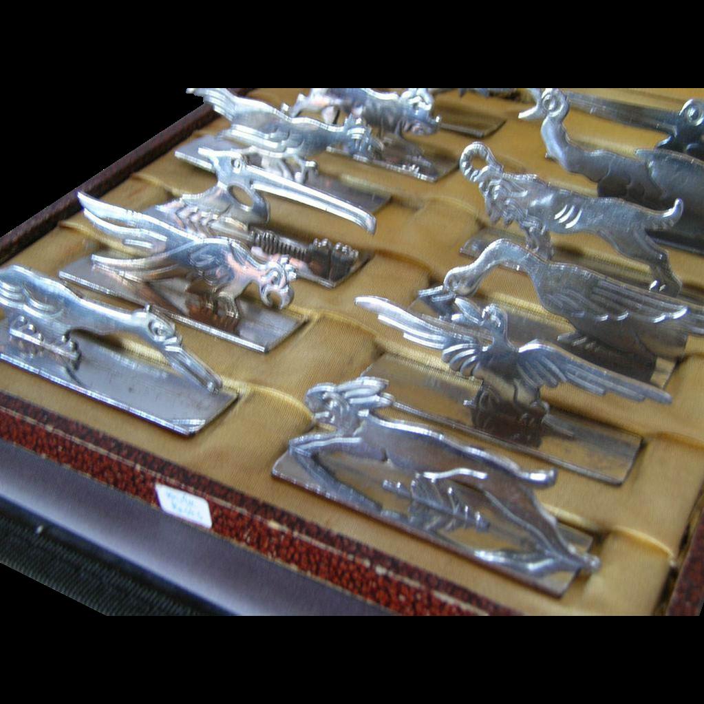 RARE Set of 12 Art Deco Animal Knife Rests - Paris, France