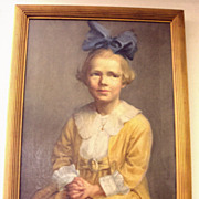 """Child with a Blue Bow"" Oil of Canvas c.1800's"