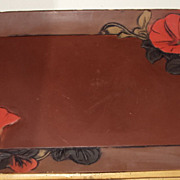 French Art Nouveau Tray Hand-painted Paper Mache