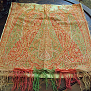 Kashmir woven Shawl Paisley Cream with Red, Gold, Green