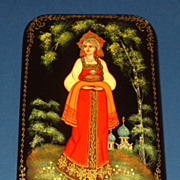 Russian Lacquered Box, Bread and Salt Maiden, Signed, Hand Painted