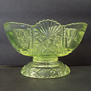EAPG Sherbet Glass Yellow Green Three mold c.1887