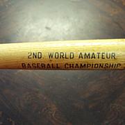 Baseball Mini Bat, 2nd World Amateur Baseball Championship St. Petersburg Florida