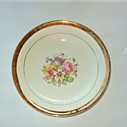 Serving Bowl 9 in, 22kt gold rim floral, Stetson China USA