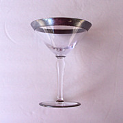 Pair of Signed Hawkes Crystal Sterling Rim Champagne Glass Deco