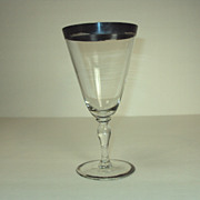 SIGNED Hawkes Crystal Goblet with Silver Band Art Deco