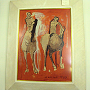 Modern Art Marino Marini Lithograph 1949 Horse and Riders
