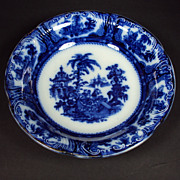 Flow Blue Serving Bowl c1891 Kyber W Adams England