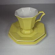 Tea Cup, Saucer and Plate Yellow Independence Ironstone USA