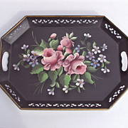 Tole Tray Pink Roses with Lavender flowers hand painted Pilgrim Art co