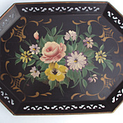 Tole Tray Pink Rose, Yellow Rose, Daisy with Lavender flowers hand painted Pilgrim Art co