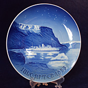 1953 Danish Christmas Plate, Bing and Grondahl, Royal Boat in Greenland Waters