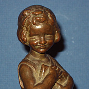 Antique Bronze by Caroline Peddle Ball c. 1910 signed and dated