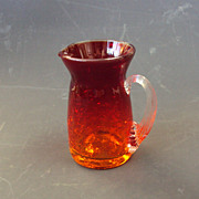 Amberina Crackle Blenko Blown Glass Pitcher