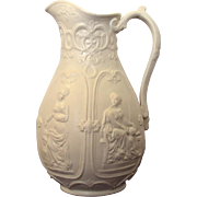 English Pottery Relief Molded Jug with Goddesses Staffordshire dated March 25, 1848