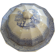 Staffordshire Butter Dish By T J & J Mayer Longport Staffordshire, England 1830's, light blue