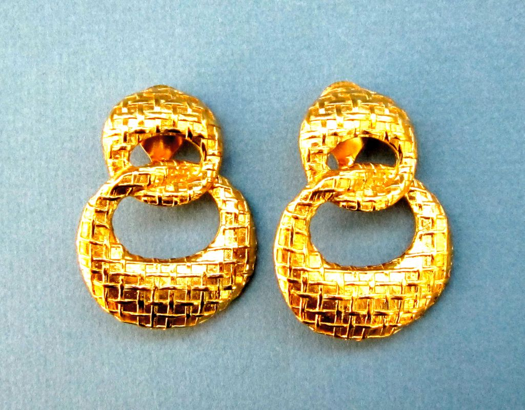 Givenchy Basket Weave Gold Tone Entwined Circle Clip On Earrings Veronica Ruby Lane