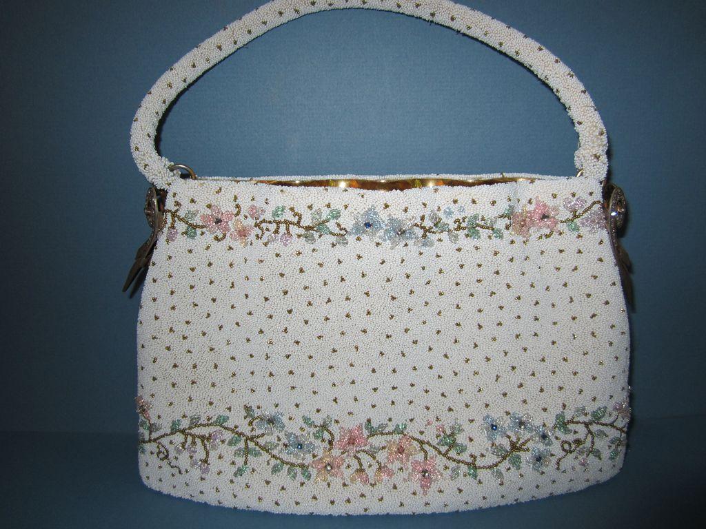 Exquisite Vintage Floral Glass Micro Bead Handbag or Purse