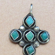 Beautiful Vintage Signed Sterling Silver and Turquoise Cross Pendant
