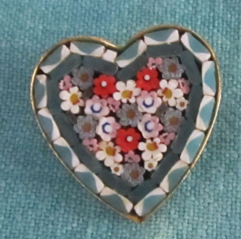 Lovely Vintage Micro Mosaic Heart Shape Pin