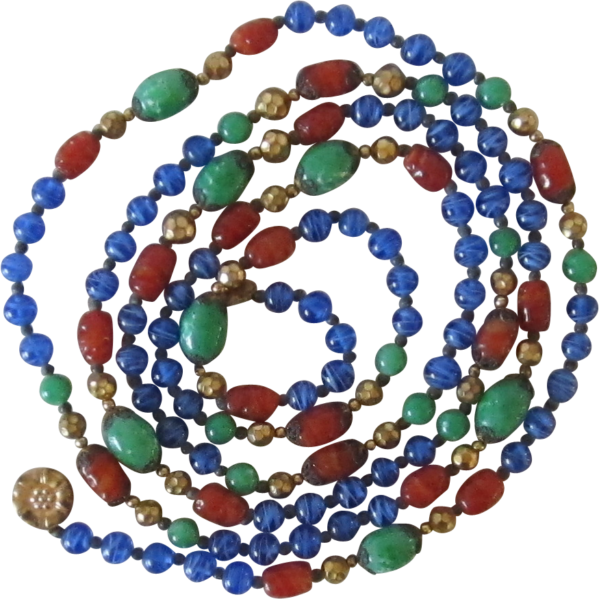 Vintage Opera Length Multi Color Glass Bead Necklace