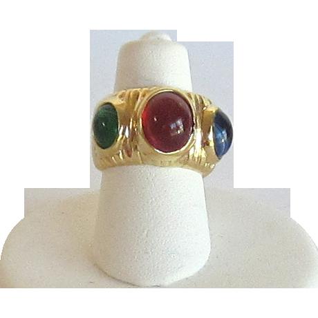 Vintage 14 Kt. GE ESPO Wide Band Ring
