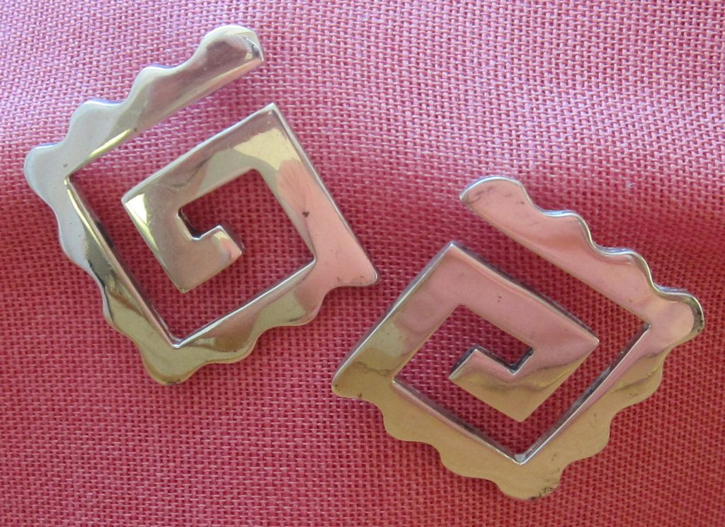 Bold Vintage Sterling Silver Pierced Earrings