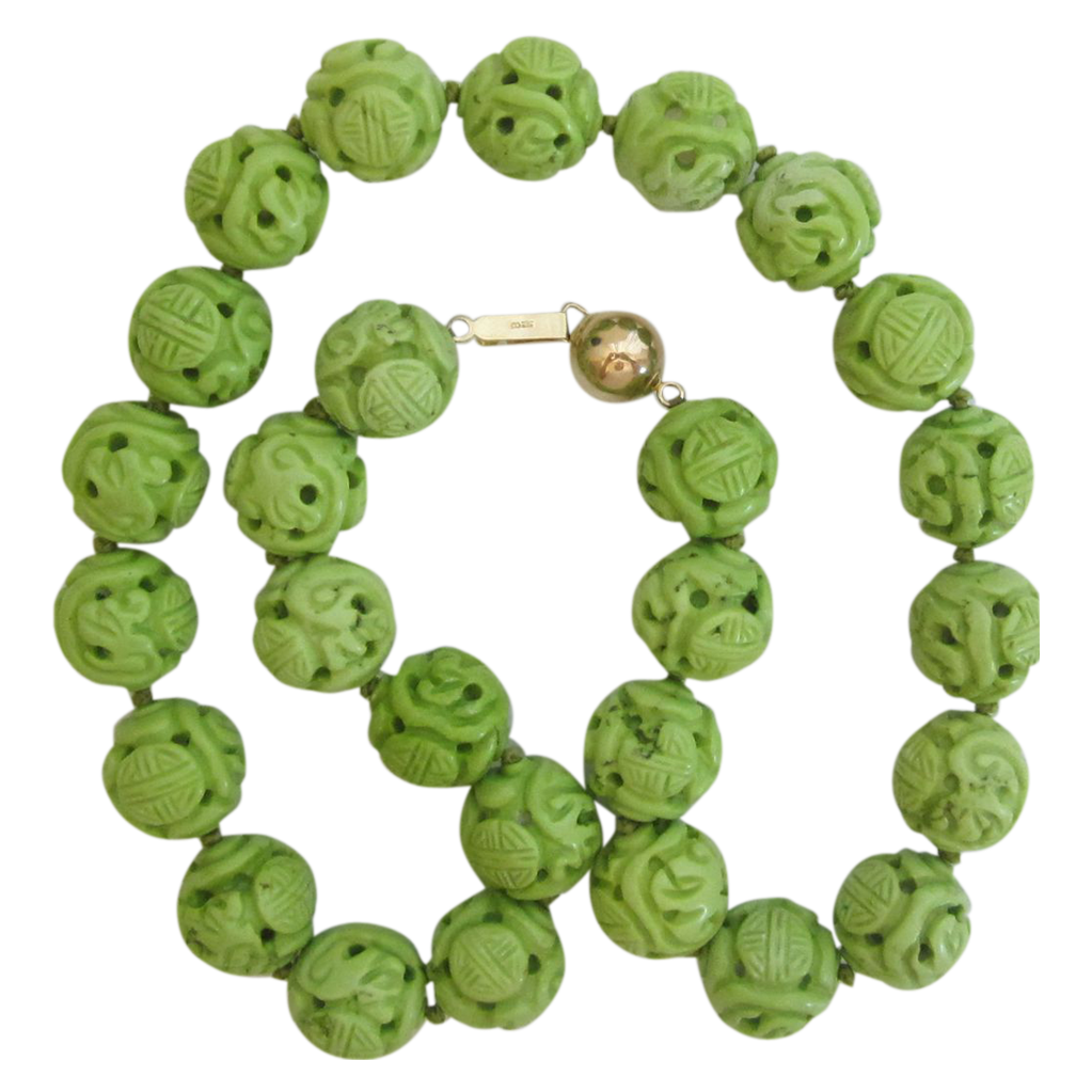 Green Dyed Magnesite Carved Bead Necklace-14K Closure