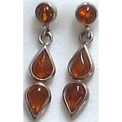 Vintage Sterling Silver Amber Dangle Earrings