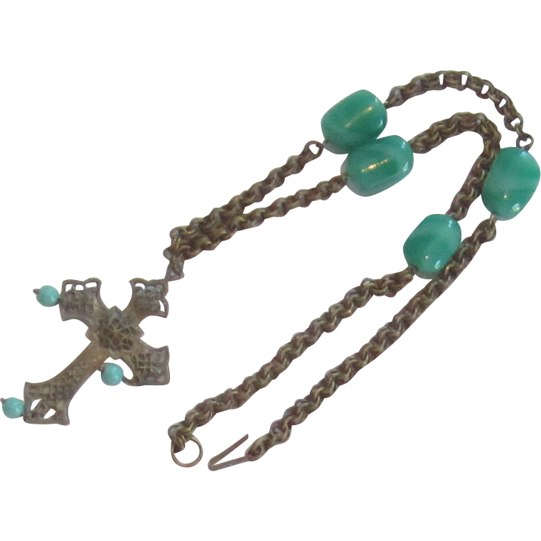 Vintage Beaded Necklace and Cross