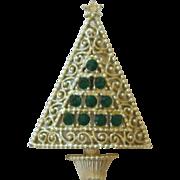 Vintage Green Rhinestone Christmas Tree Pin