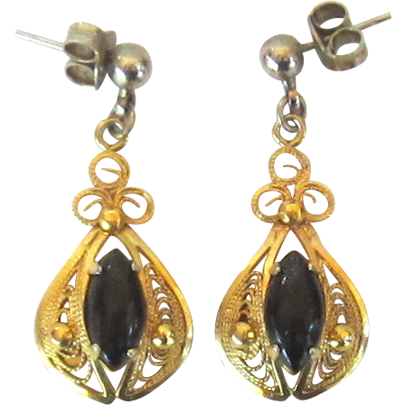 Vintage 12K Gold Filled Onyx Dangle Earrings